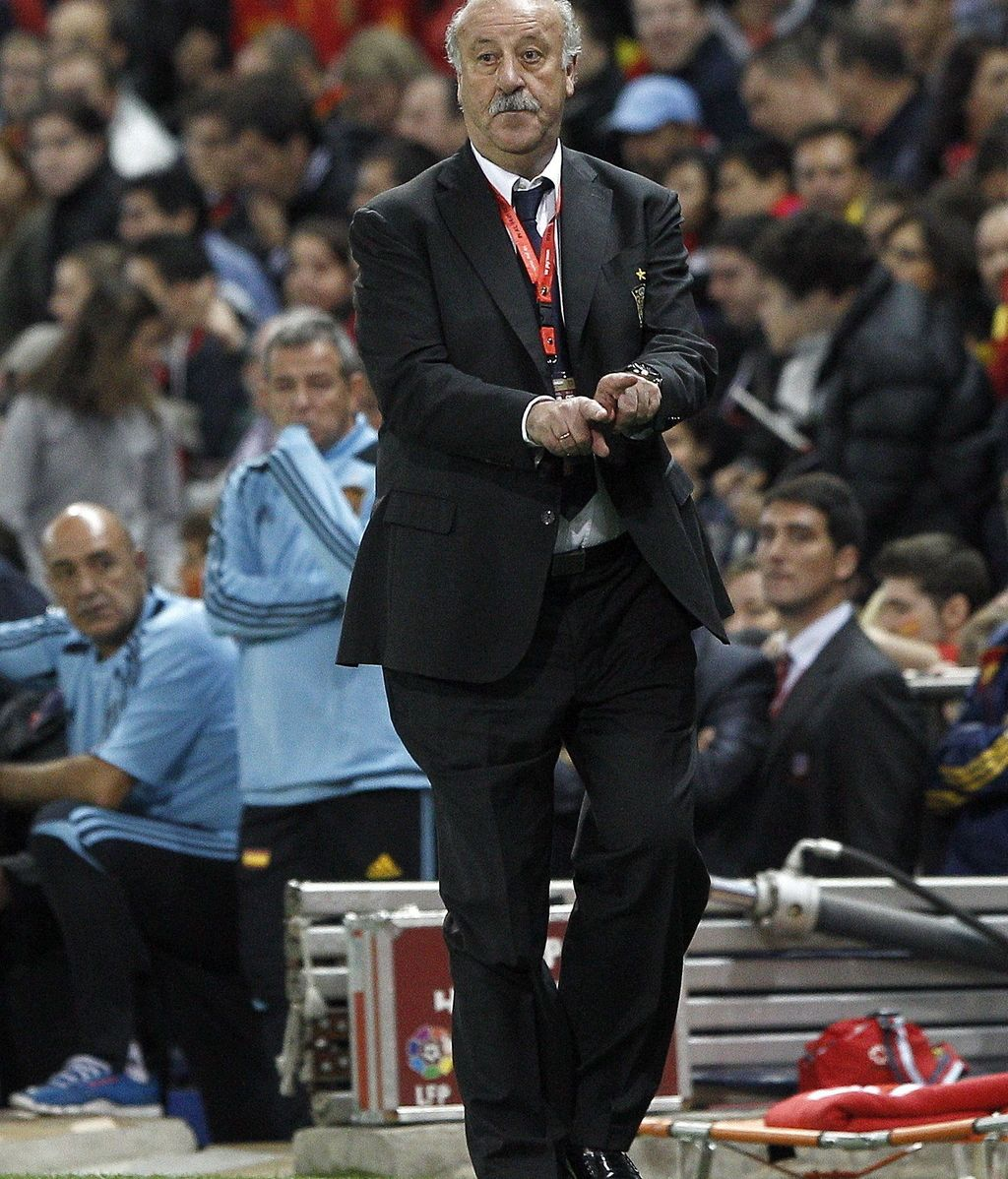 El entrenador de la selección española, Vicente del Bosque, durante el partido de la fase de clasificación para el Mundial de Brasil 2014 ante Francia