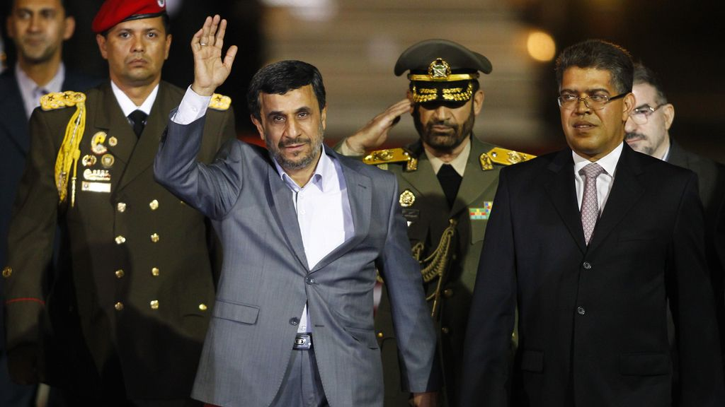 El presidente de Irán, Mahmud Ahmadineyad, a su llegada a Venezuela
