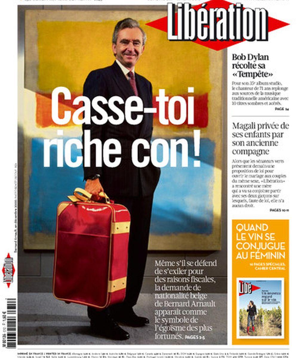¡Largate: rico gilipollas! Liberation le dedica una portada al hombre más rico de Francia Bernard Arnault tras conocerse que pide la nacionalidad belga