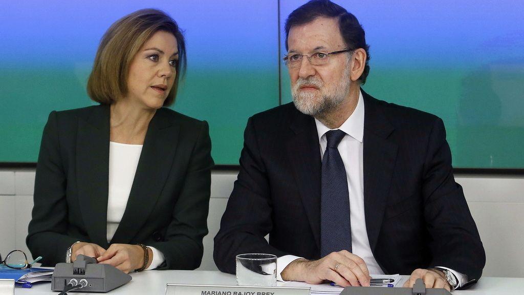 Cospedal y Rajoy en Génova