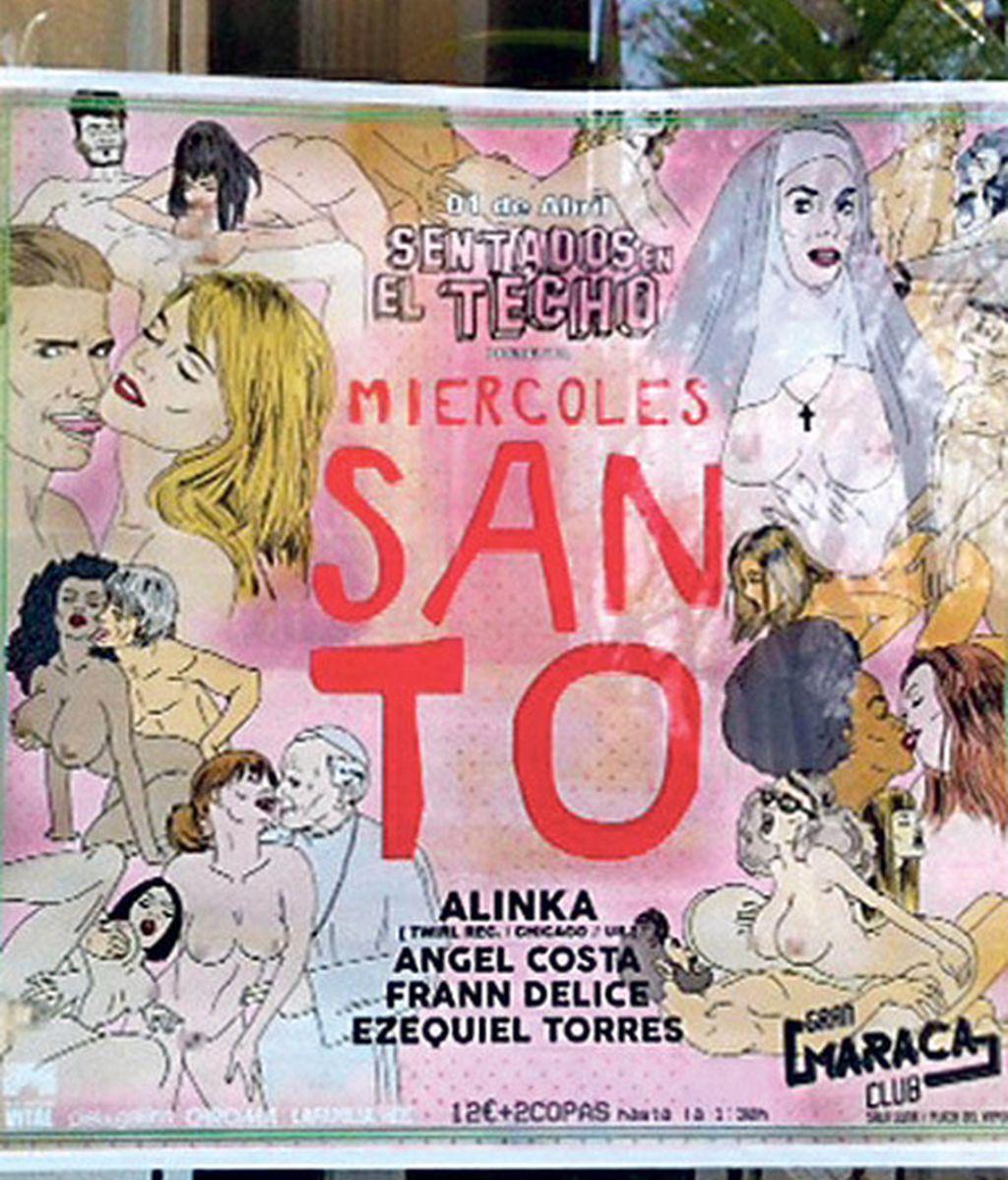 Denuncian el cartel erótico de una fiesta titulada 'Miércoles Santo' por atentar contra la libertad religiosa