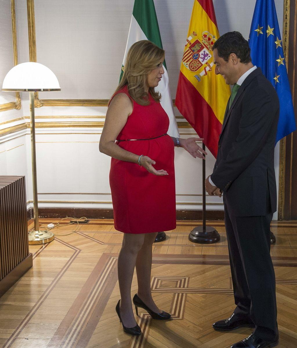 Susana Díaz, presidenta en funciones de la Junta de Andalucía, se reúne con Juanma Moreno (PP)