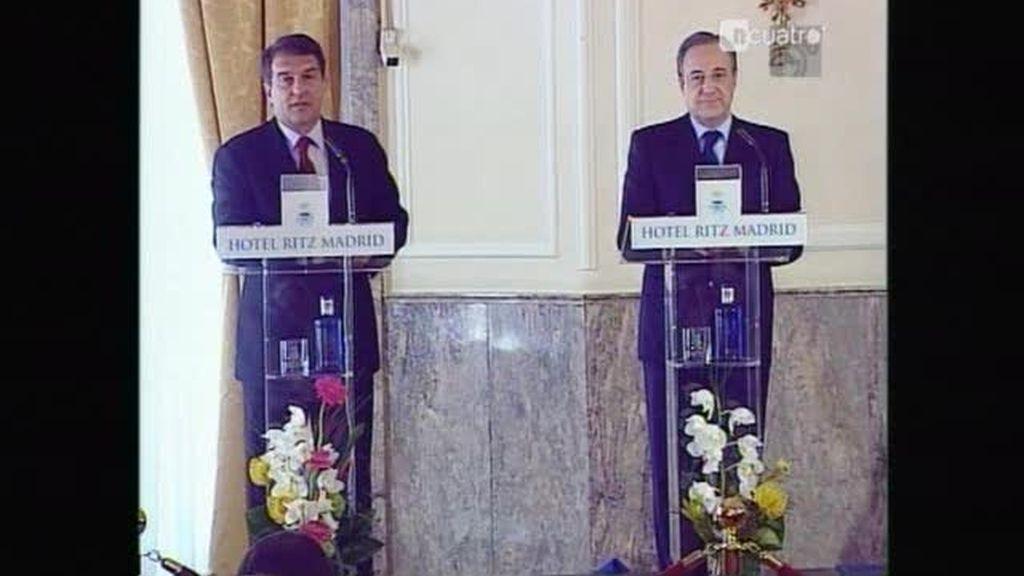 Florentino y Laporta juntos en rueda de prensa