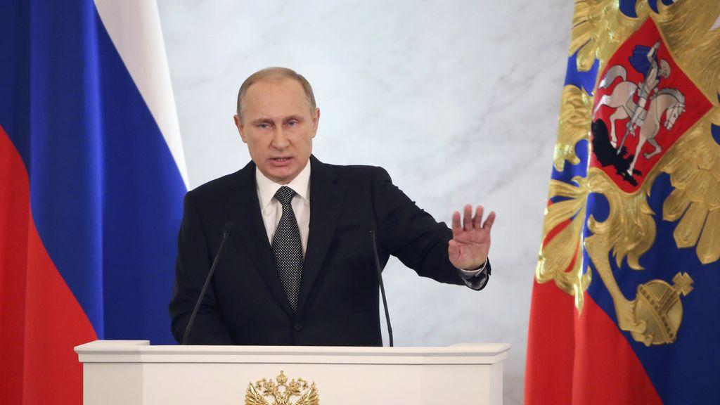 El presidente ruso, Vladimir Putin, en el Parlamento