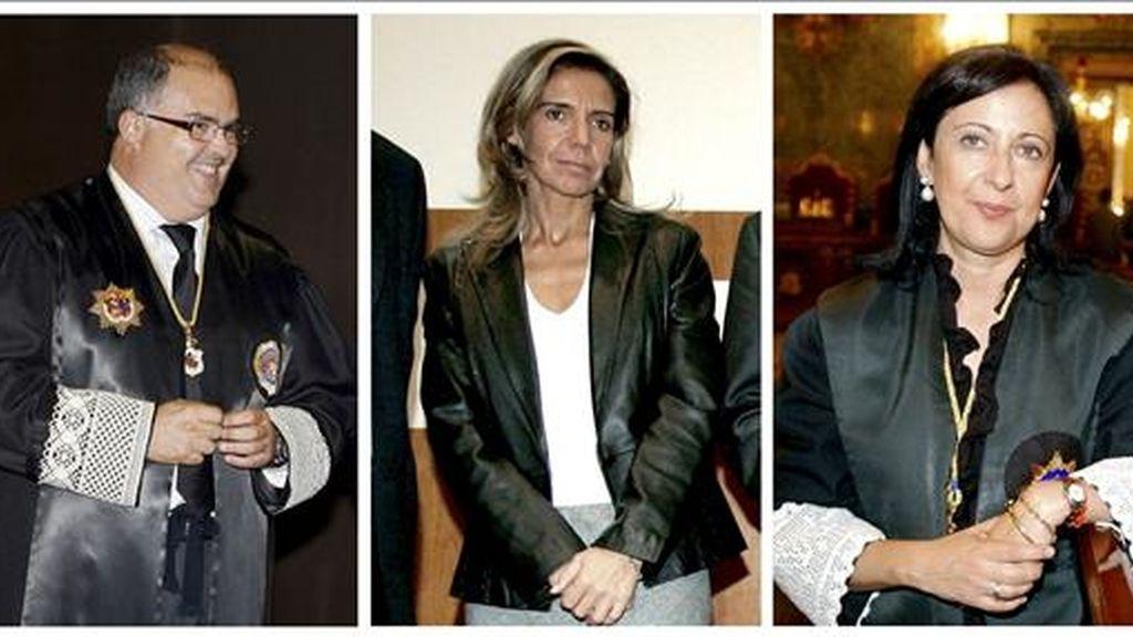 Fotografías de archivo del vicepresidente del CGPJ, Fernando de Rosa (i), y las vocales Gemma Gallego (c) y Margarita Robles (d), a quienes el juez de la Audiencia Nacional Baltasar Garzón pidió su abstención en un escrito de alegaciones al Consejo General del Poder Judicial (CGPJ). EFE/Archivo