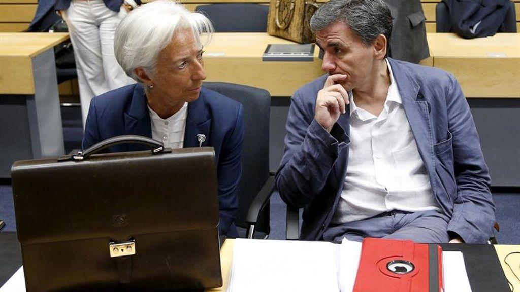 Christine Lagarde (FMI) y Euclid Tsakalotos (ministro de Economía griego)