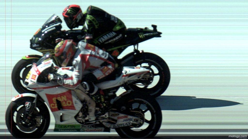 Photofinish del final de carrera entre Bautista y Dovizioso