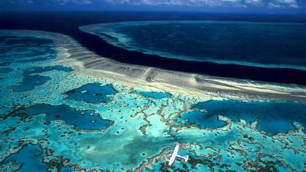 Una avioneta sobrevuela la Gran Barrera de Coral, Australia