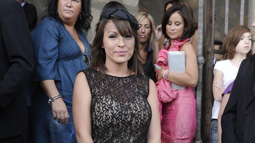 Tamara, la ex de Kiko, sola en la boda de Toño Sanchís
