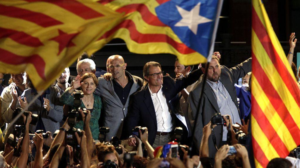 La candidatura de Junts pel Sí celebra los resultados electorales