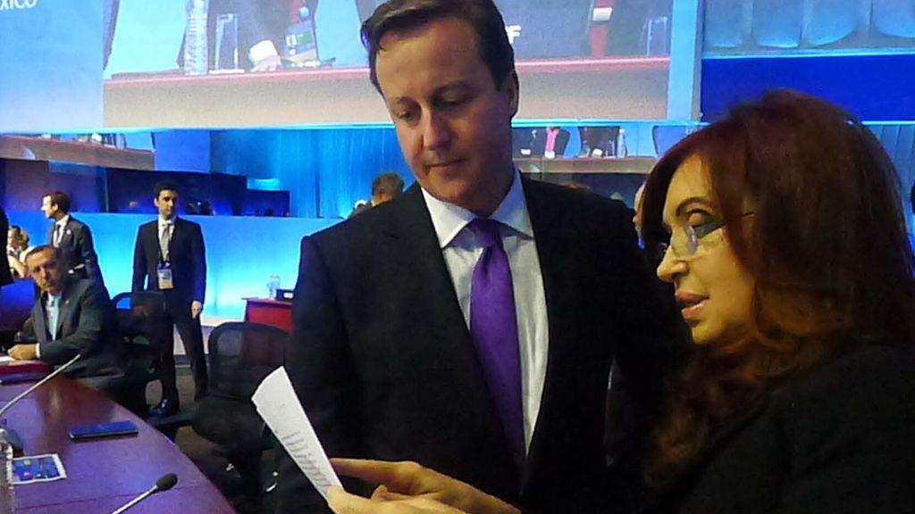 Cameron y Kirchner en la cumbre del G-20