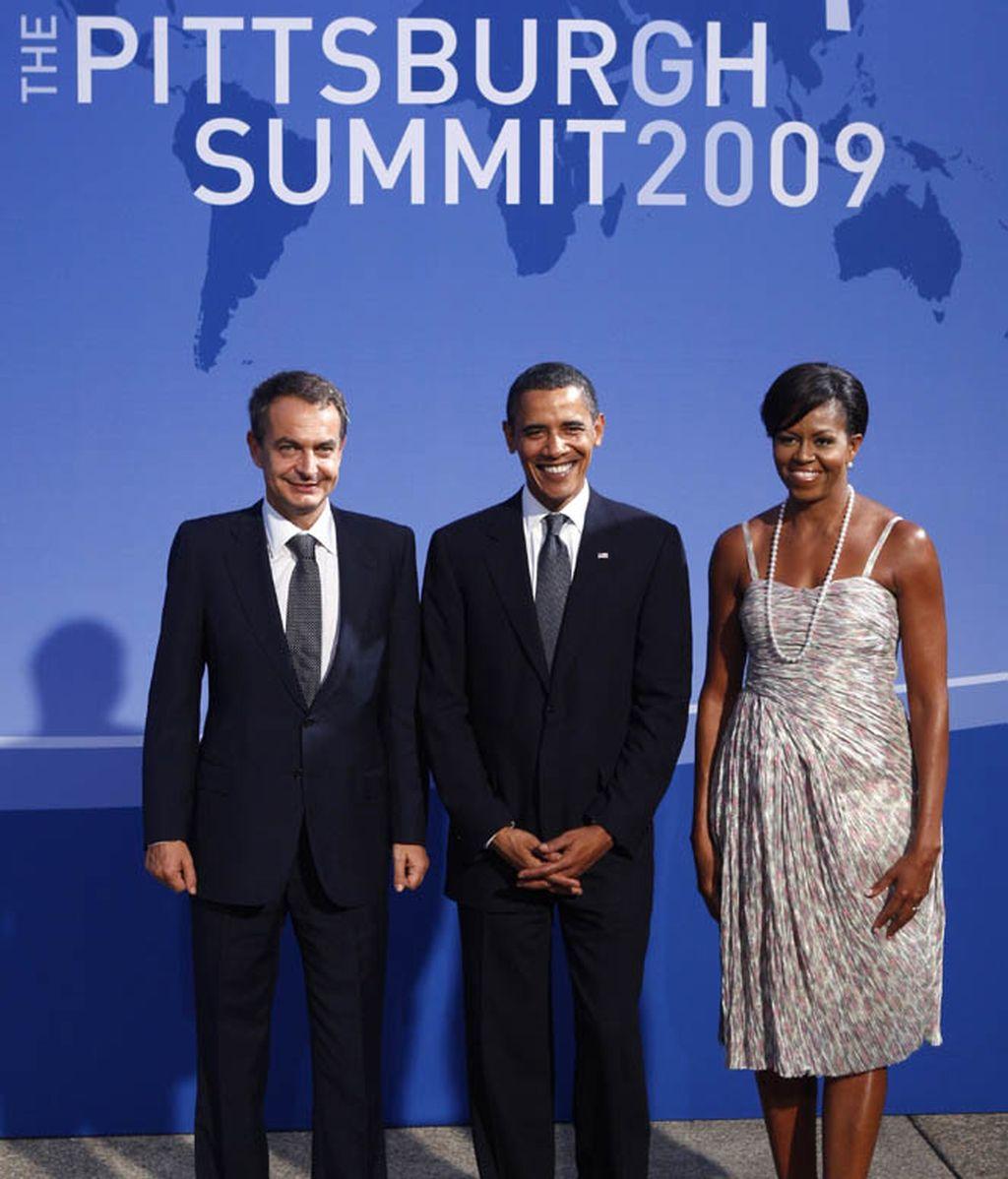 Zapatero junto a Obama y su mujer