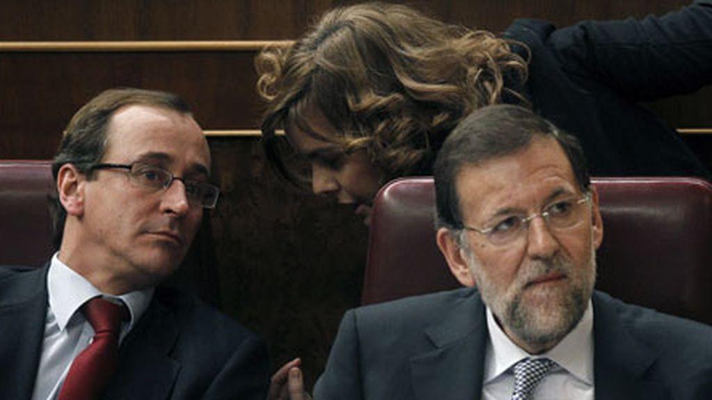 Alfonso Alonso, Mariano Rajoy y Soraya Sáenz de Santamaría en una imagen de archivo