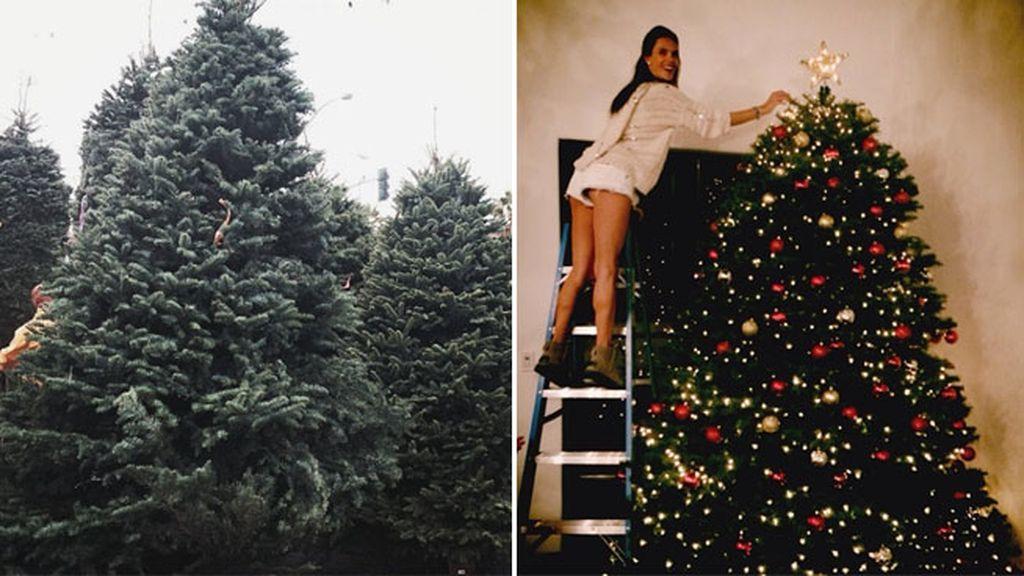 Alessandra Ambrosio subida a una escalera para decorar el alto del árbol