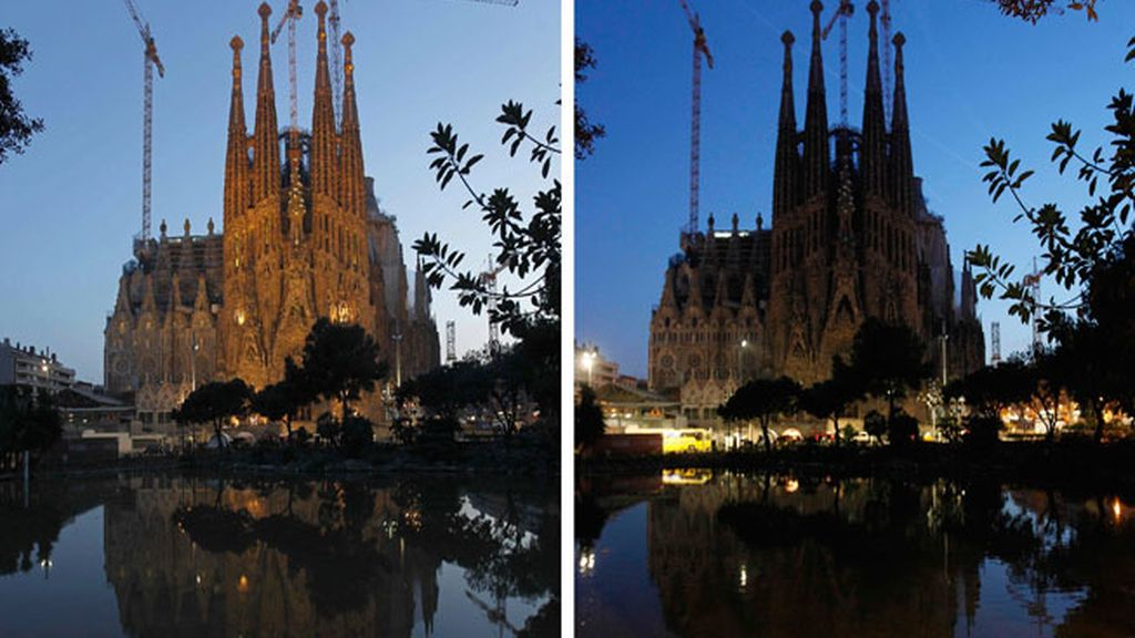 La Sagrada Familia se oscurece por la Hora del Planeta