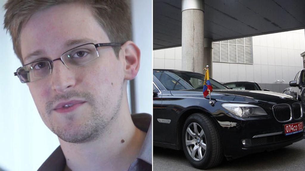 Edward Snowden y el coche oficial del embajador de Ecuador en Moscú. Foto: Efe/Reuters