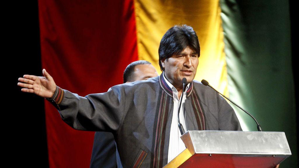 Evo Morales, durante un mítin con compatriotas en Barcelona. Foto: Reuters