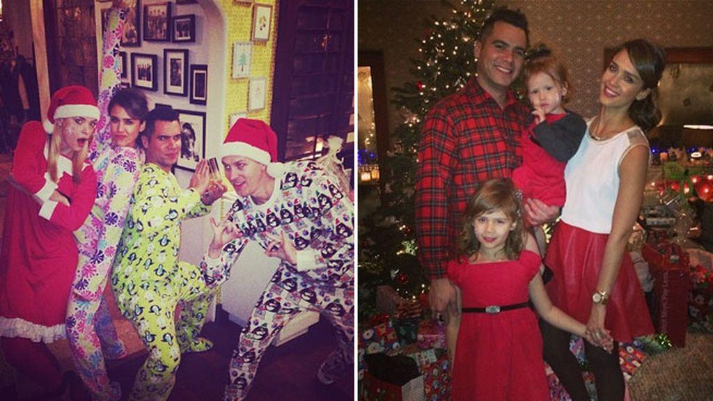 Fiesta de pijamas para recibir a Santa en casa de Jessica Alba