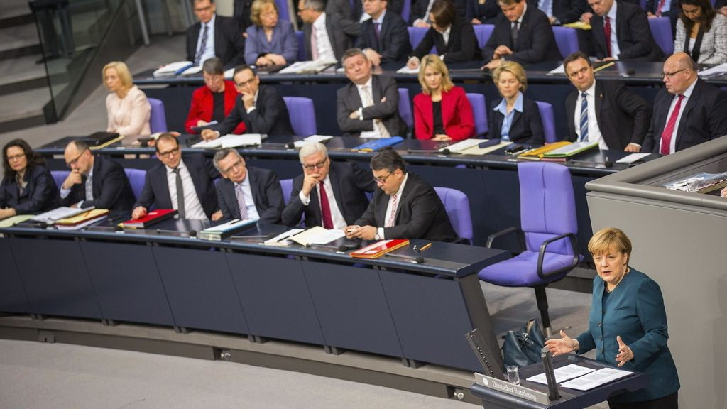 Angela Merkel, en la Cámara Baja del Parlamento alemán