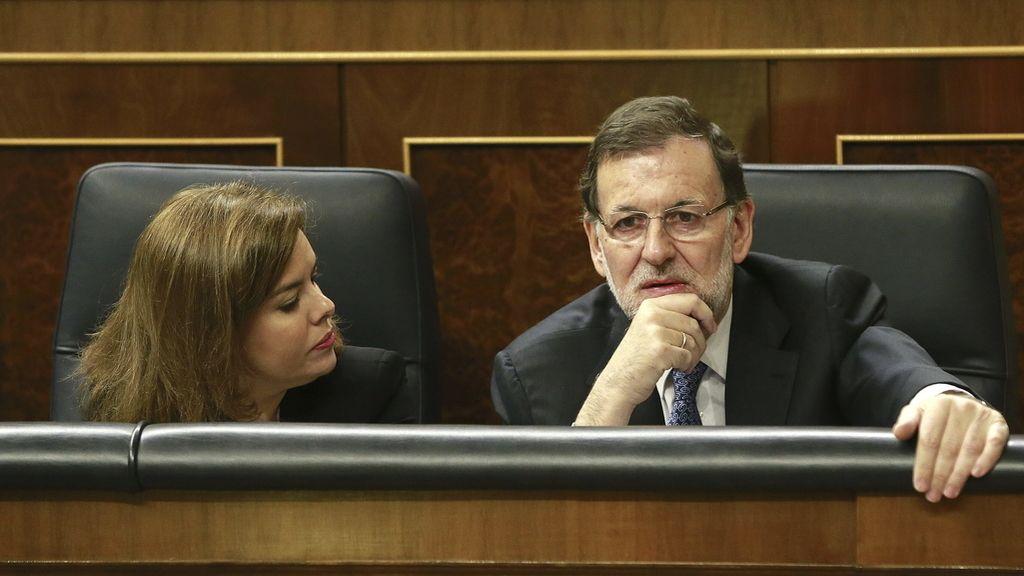 Soraya Sáenz de Santamaría y Mariano Rajoy, en el Congreso