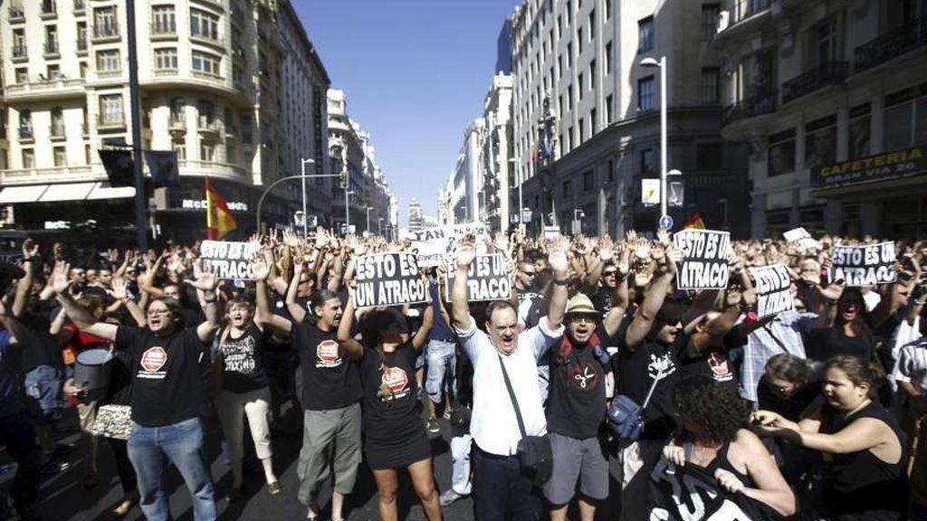 Protestas de los funcionarios contra los recortes del Gobierno
