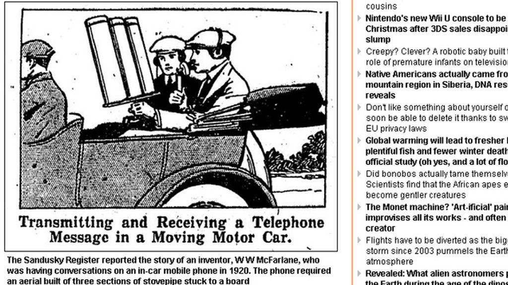 Boceto del primer coche-telefono en 1920. Foto: Daily Mail
