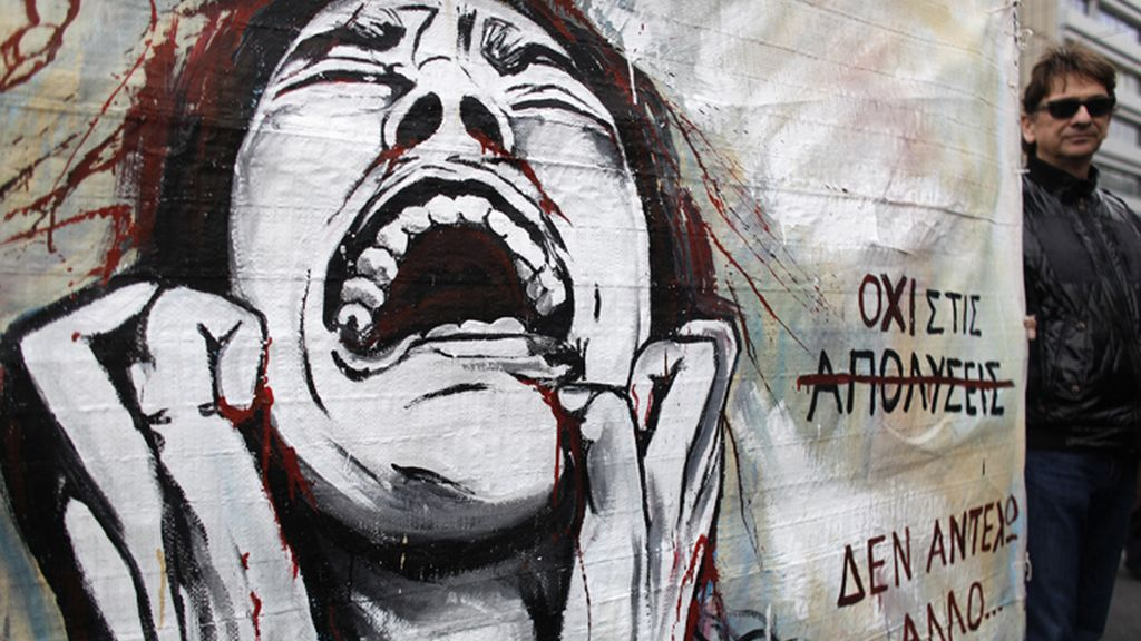 Manifestación en Atenas de trabajadores municipales