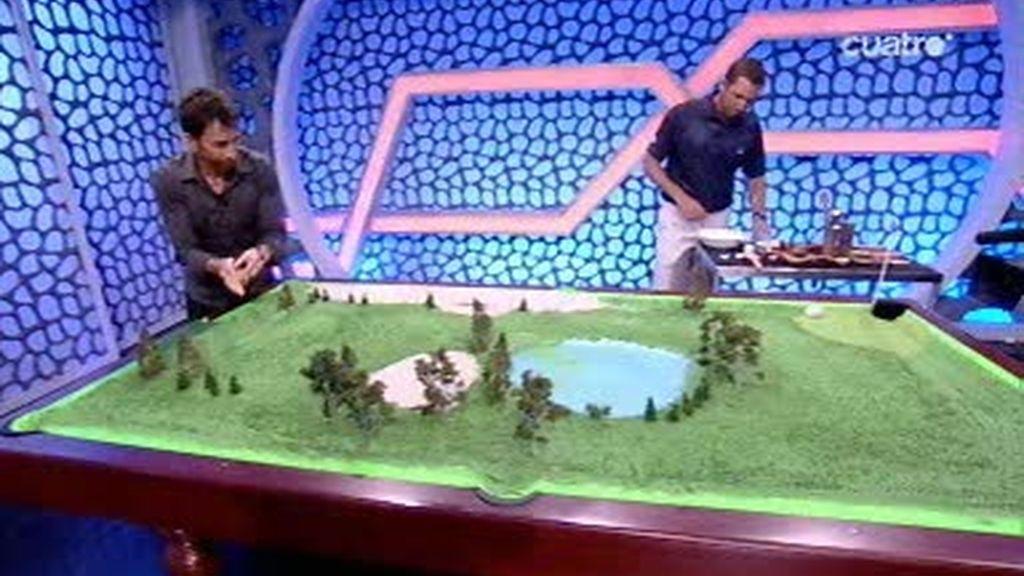 Sergio García y Pablo Motos juegan al golf...
