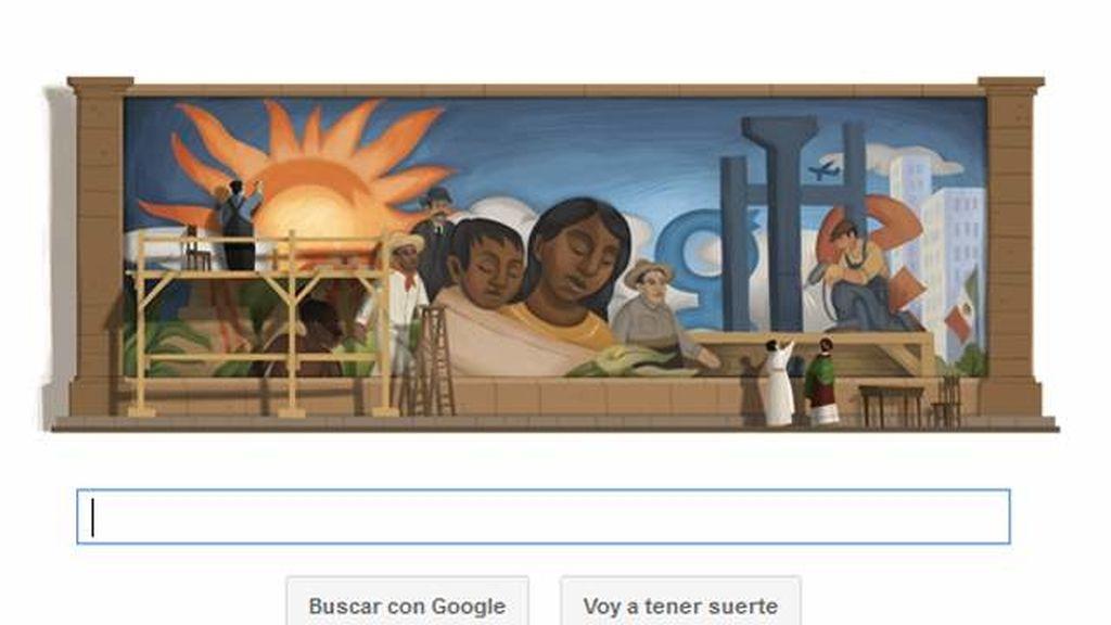 El mural del pintor mexicano, el nuevo doodle del buscador que rinde así homenaje al famoso artista.