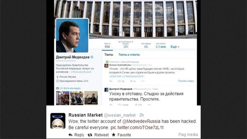 Acceden a la cuenta de Twitter del primer ministro ruso Medvedev y anuncian su dimisión
