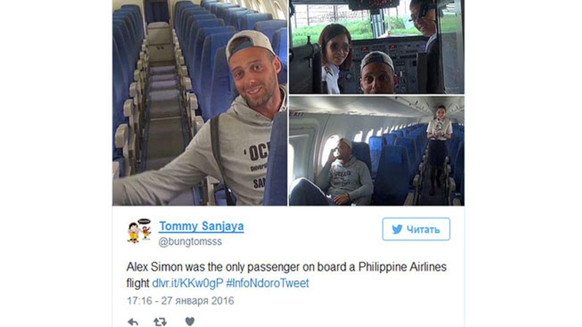 Único pasajero en un avión