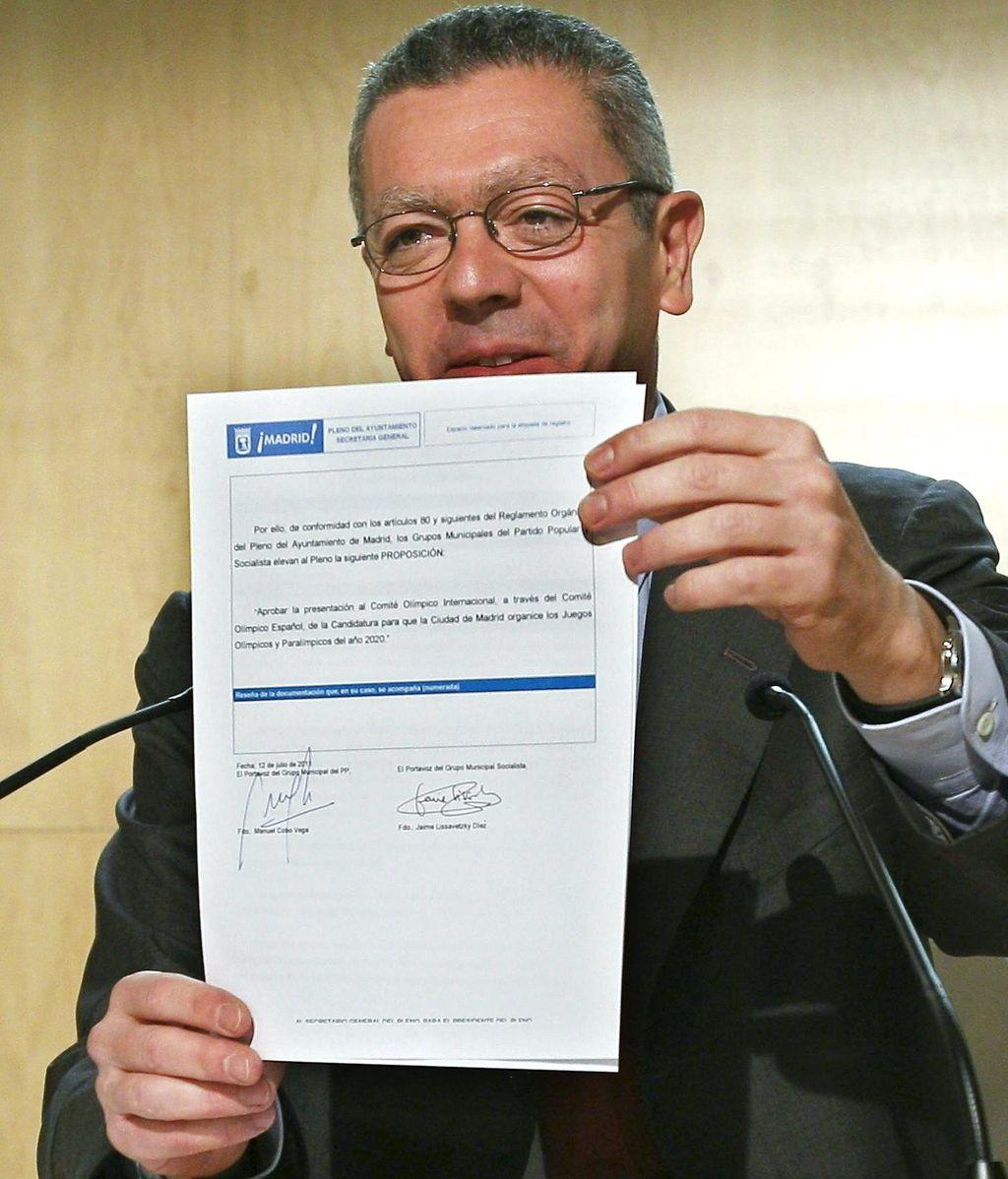 Alberto Ruíz Gallardón durante el anuncio de que Madrid luchará de nuevo por organizar los JJOO