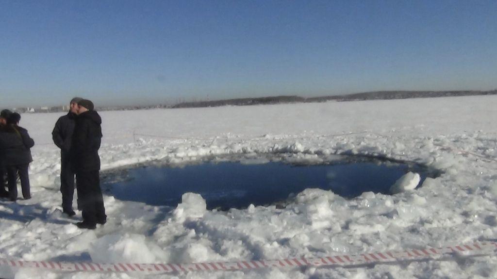 Cráter en el lago Chebarkul