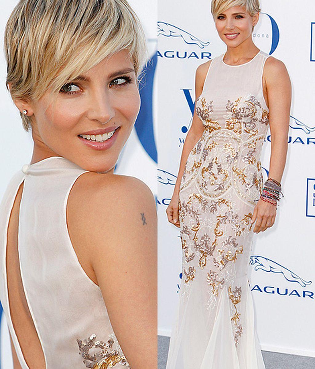 Elsa Pataky lució un favorecedor vestido blanco con bordados y escote en la espalda