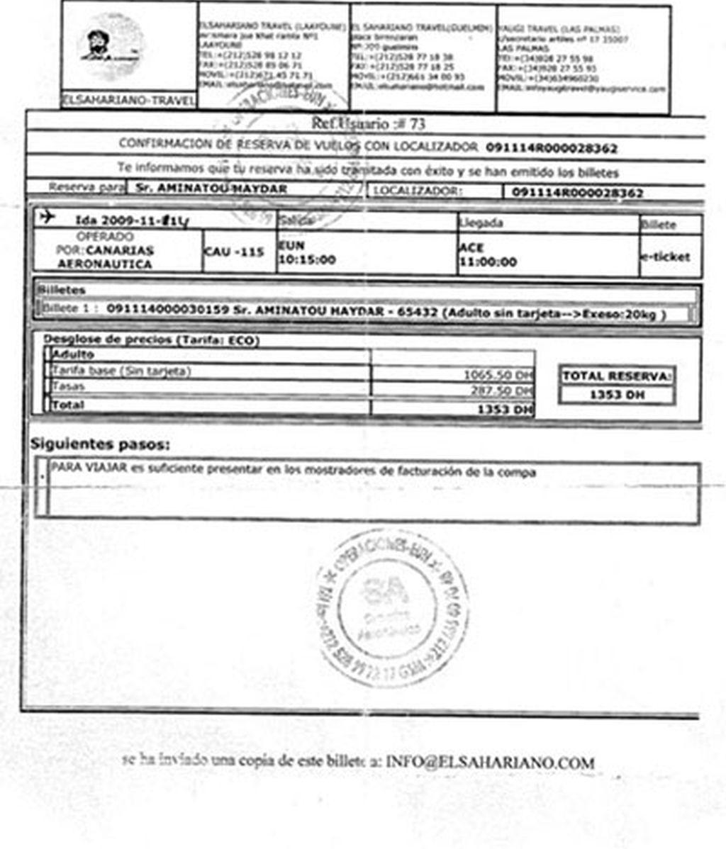 Haidar tenía reservado un vuelo para el 11 de noviembre y posteriormente se modificó a mano.