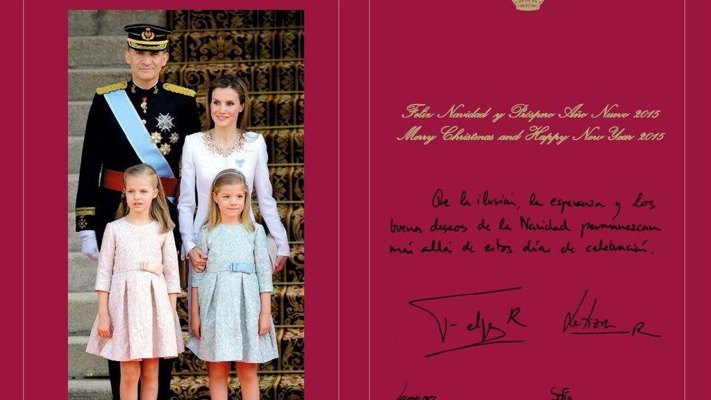 Felicitación navideña de los reyes y sus hijas