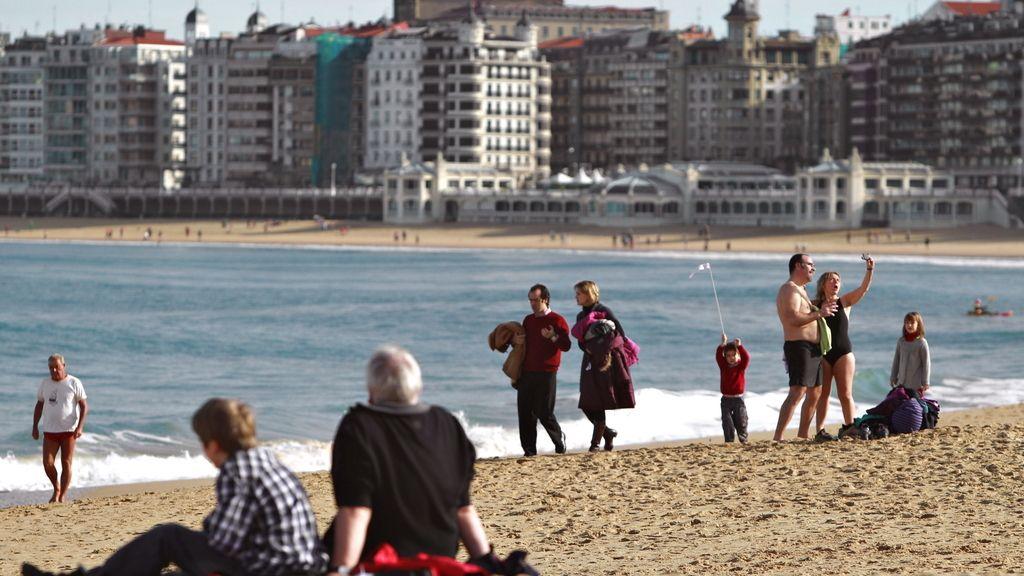 Buen tiempo el primer día del año en San Sebastián