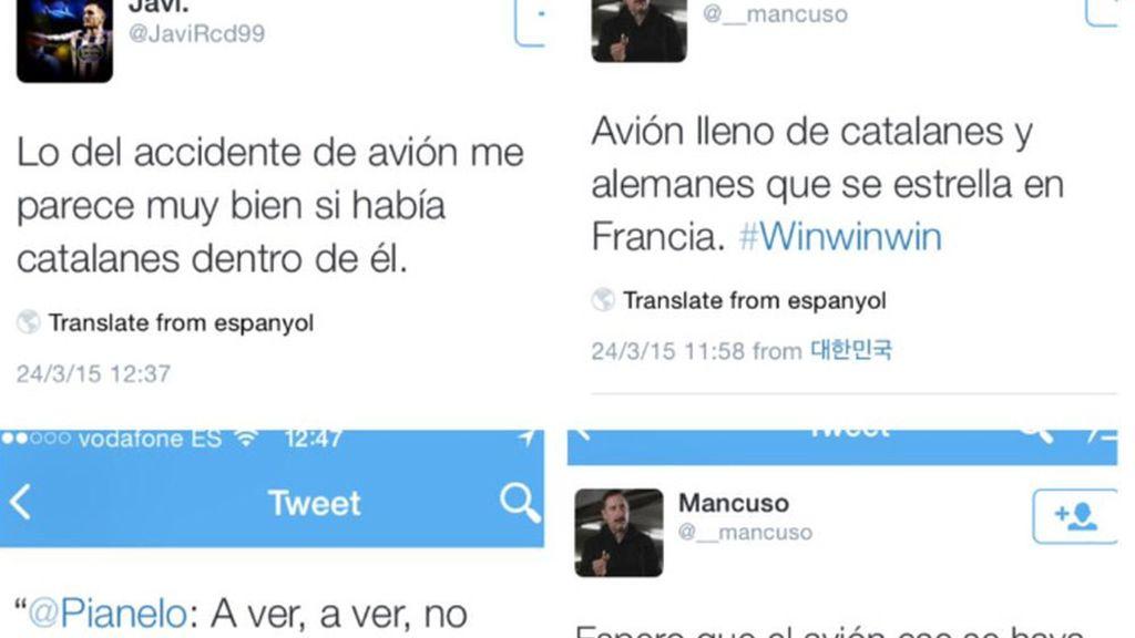 Varios tuits contra las víctimas del accidente de avión por ser catalanes