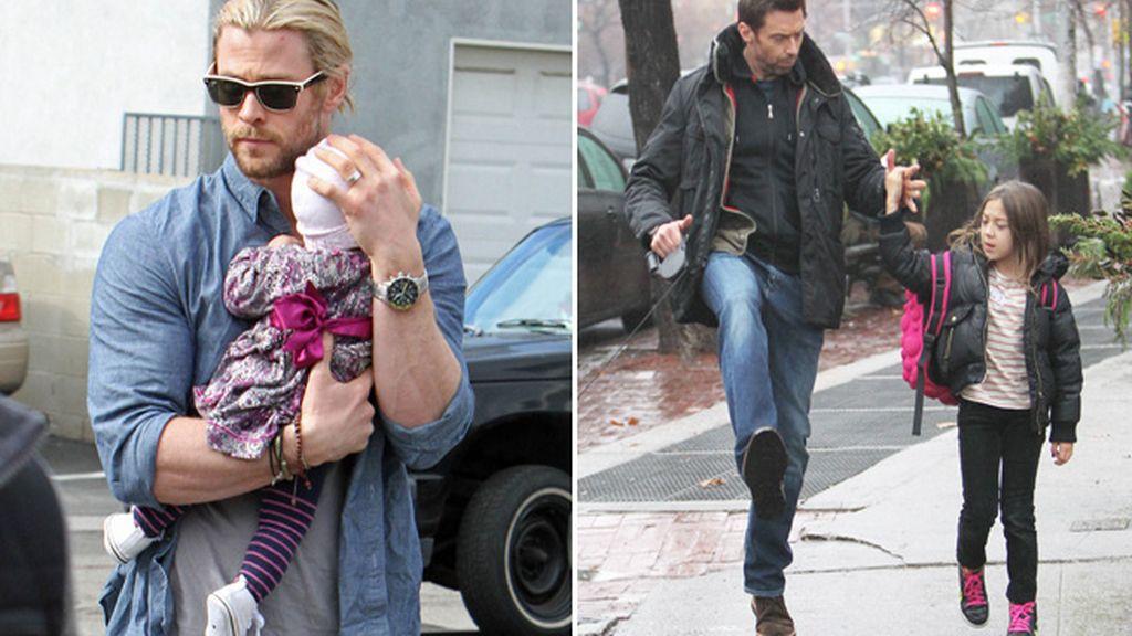 Chris Hemsworth y Hugh Jackman con sus respectivas hijas