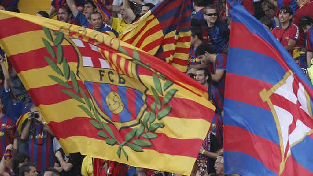 Banderas del Barcelona llenaron el Olímpico de Roma