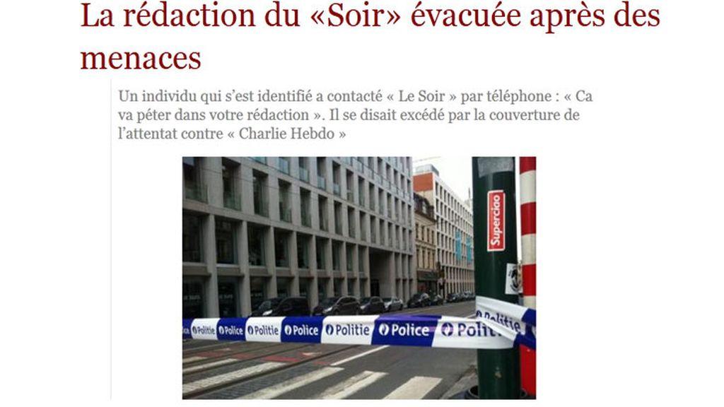 Evacuada la redacción en Bruselas del diario belga 'Le Soir' por una amenaza de bomba