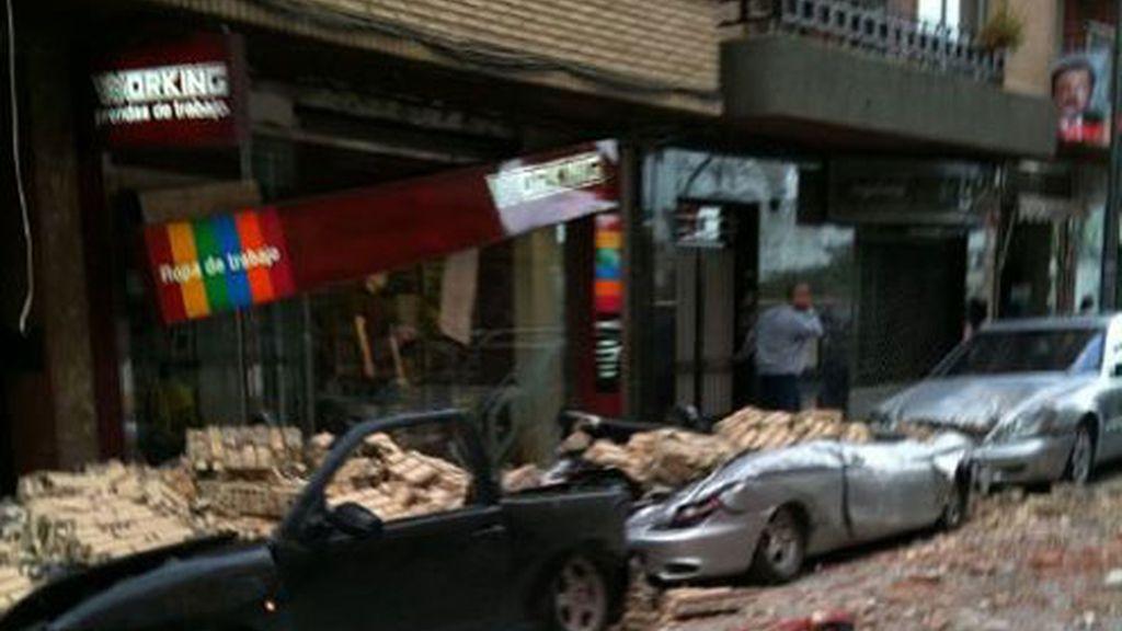 Una de las calles sacudidas por el terremoto