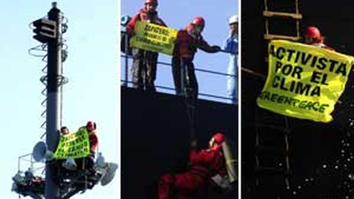 Varios momentos de la acción. Fotos: Greenpeace