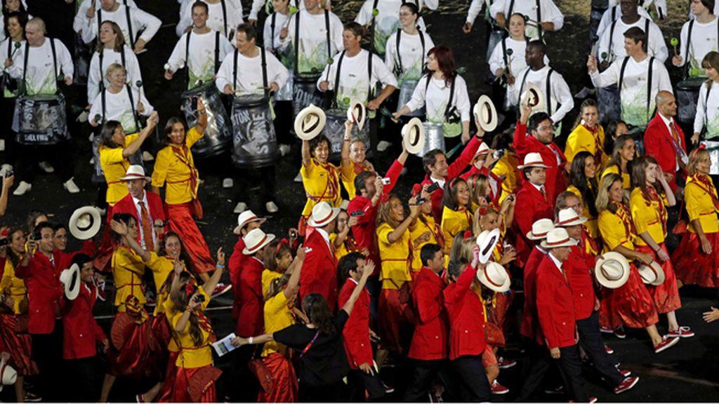 La delegación española desfila durante el acto inaugural de los Juegos Olímpicos de Londres 2012