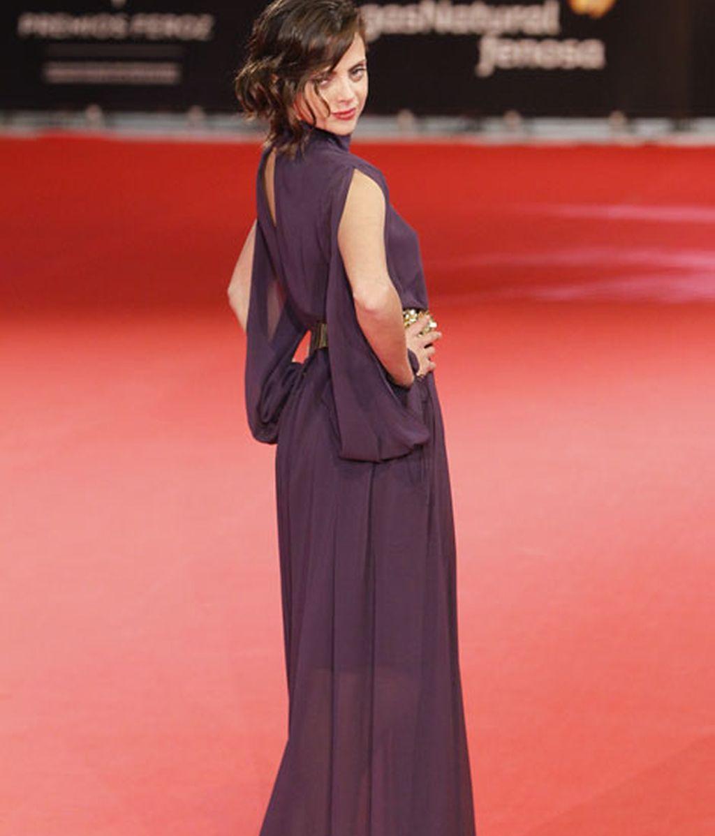 Macarena Gómez con un vestido largo en tonos lilas