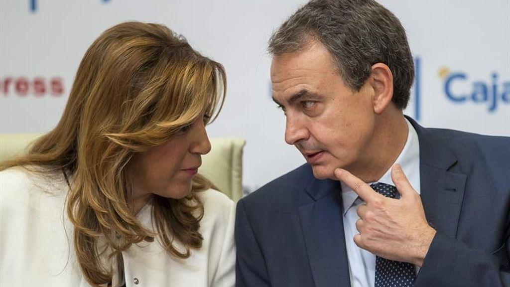 Susana Díaz, presidenta de la Junta de Andalucía, y el expresidente José Luis Rodríguez Zapatero