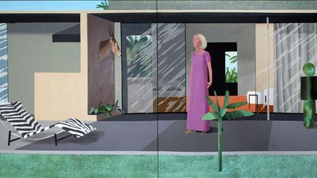 """Reproducción de la obra """"Beverly Hills Housewife"""" del considerado por muchos como el padre del """"pop art"""" británico, David Hockney, la cual saldrá a la venta en seis millones de dólares durante la puja de arte contemporáneo y de posguerra que se celebrará el próximo 13 de mayo. EFE"""