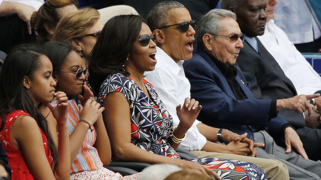Obama y Castro, juntos en un partido de béisbol (23/03/2016)