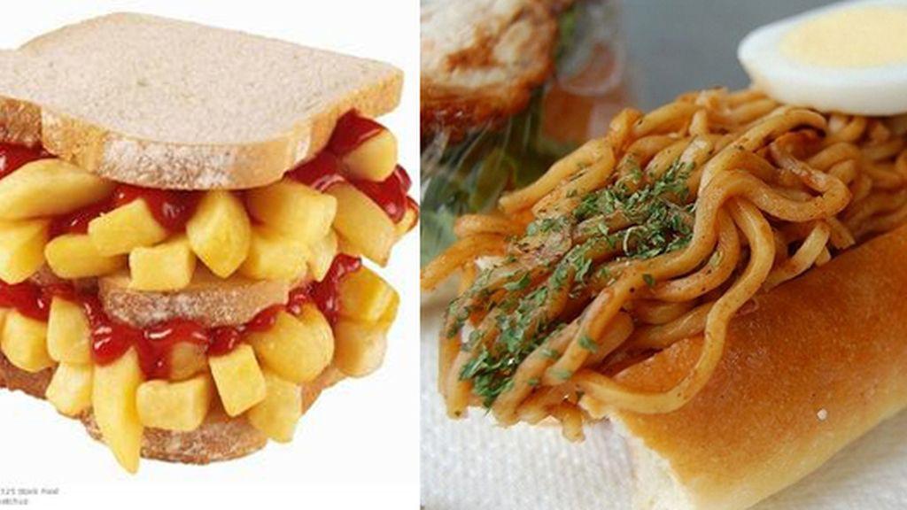 El típico sándwich inglés, con un buen ejército de patatas, a la izquierda y el  yakisoba, bocadillo japonés con fideos fritos.