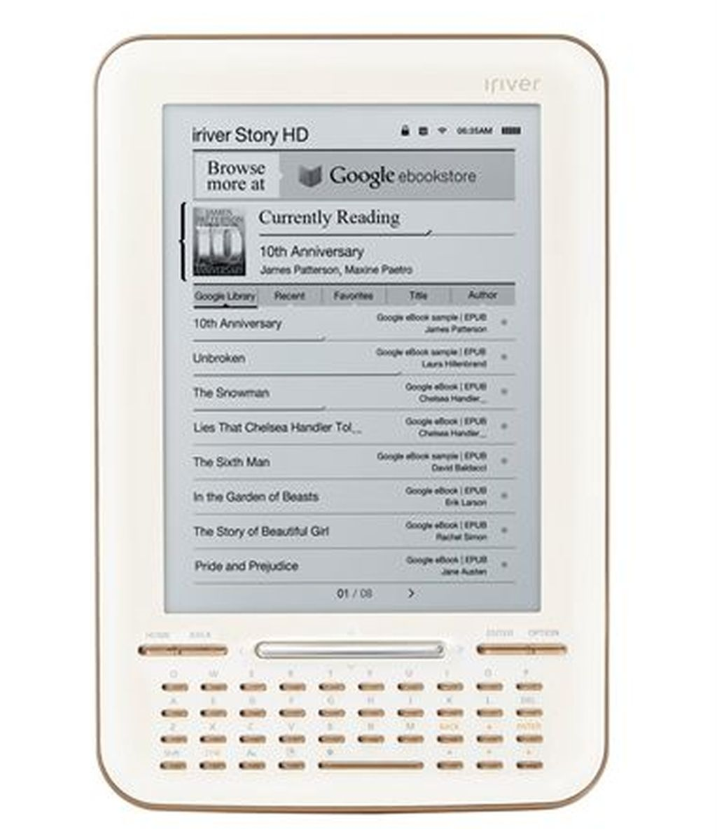 El 'Story HD', fabricado por la compañía Iriver, tiene un atractivo precio unido a sus características técnicas, una pantalla de alta resolución de tinta electrónica y Wifi.